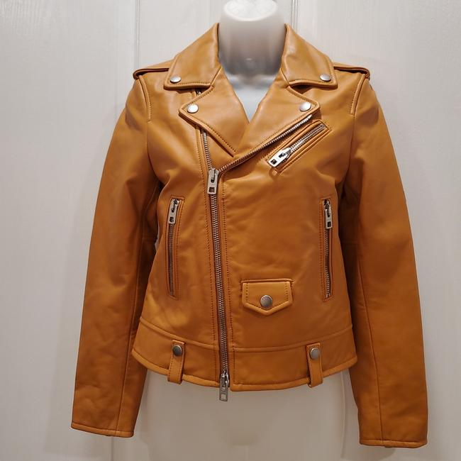 Item - Burnt Orange Moto Biker Jacket Size 00 (XXS)