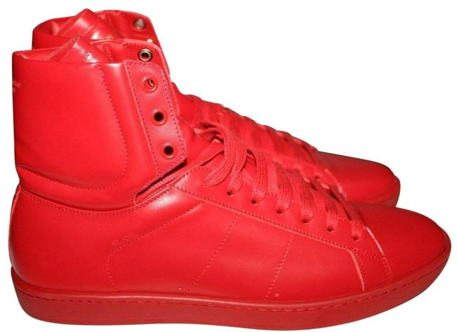 Item - Red Ysl Yves Men Leather Wolly Court High Top Sneakers Size US 9.5 Regular (M, B)