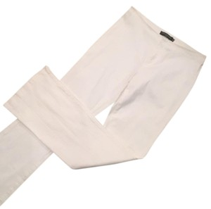 Avenue Montaigne Designer Flare Textured Sleek Boot Cut Pants White