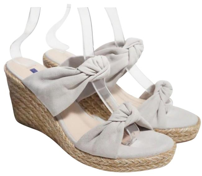 Item - Gray Silver Sarina Suede Espadrille Bow Sandals Wedges Size US 9 Regular (M, B)