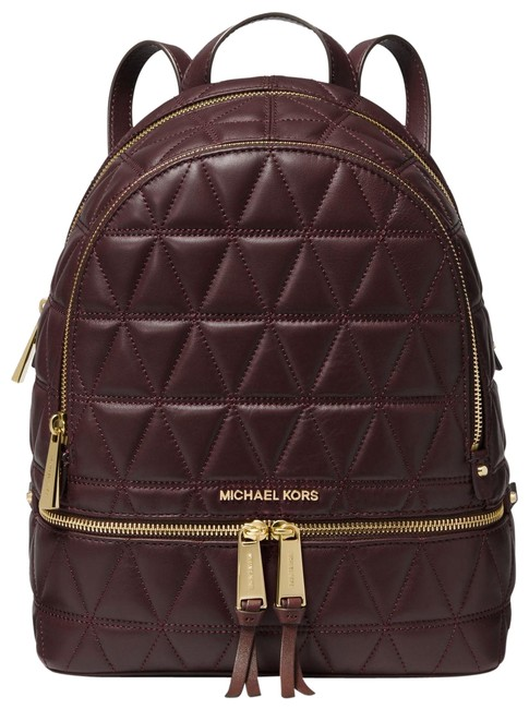 Item - Classic Quilted Medium School Travel Wine Red Leather Backpack