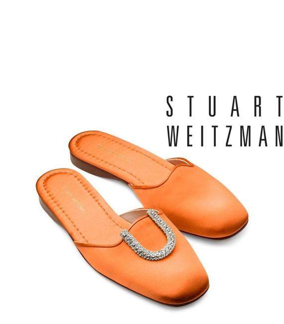 Stuart Weitzman Orange Mango Muletown Round Toe Slip On Flat Satin Mules/Slides Size US 9 Regular (M, B) Stuart Weitzman Orange Mango Muletown Round Toe Slip On Flat Satin Mules/Slides Size US 9 Regular (M, B) Image 1
