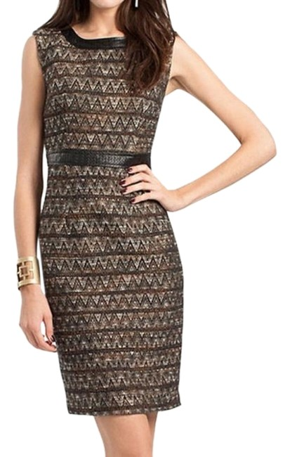 Item - Brown Sleeveless Tweed Basket Weave Mid-length Cocktail Dress Size 2 (XS)