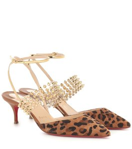 Christian Louboutin Strappy Spiked Studded Kitten Heel Leopard Brown Sandals