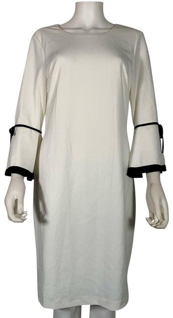 Item - White Sheath Bell Sleeves Black Trim New Mid-length Cocktail Dress Size 12 (L)