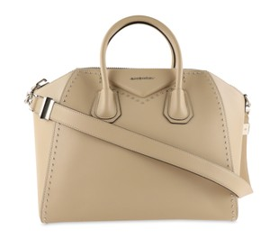 Givenchy Calfskin Leather Silver Hardware Satchel in Beige
