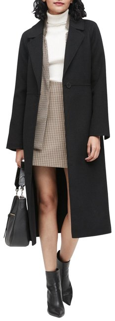 Item - Black/Grey Women's Unlined Buckled Style Coat Size 6 (S)