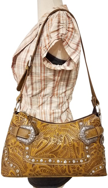 Item - Tooled Floral Glass Stones Brown Man Made Satchel