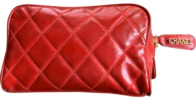 Chanel Vintage Logo Quilted Gold Zipper Pull Purse Handbag Pouch Quilted Red Leather Clutch Chanel Vintage Logo Quilted Gold Zipper Pull Purse Handbag Pouch Quilted Red Leather Clutch Image 1