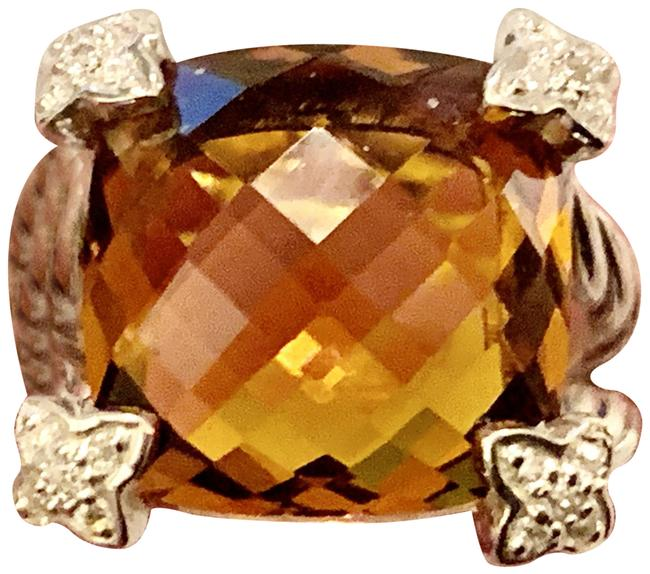 Item - Madeira-orange Citrine Chatelaine -cushion On-point-with Diamonds-please See All Pics- Ring