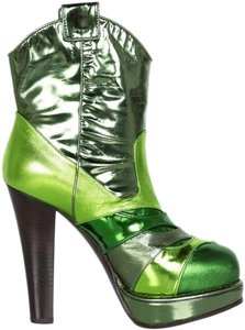 Bottega Veneta Metallic Leather Patchwork Run Way Green Boots