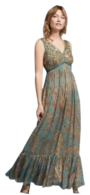 Item - Green Brown Sequined Paisley Long Casual Maxi Dress Size 0 (XS)