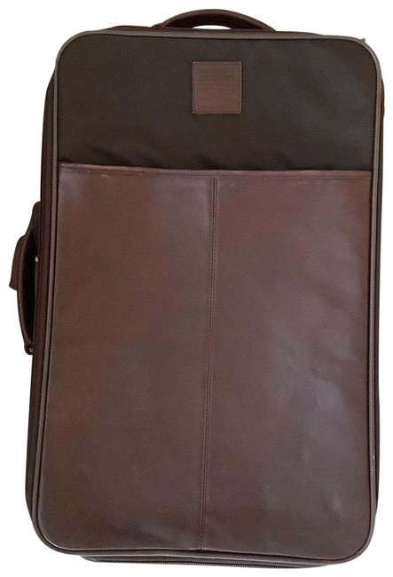 Item - Leather/Travel Wheel Along Mahogany Leather and Weave Fabric Weekend/Travel Bag