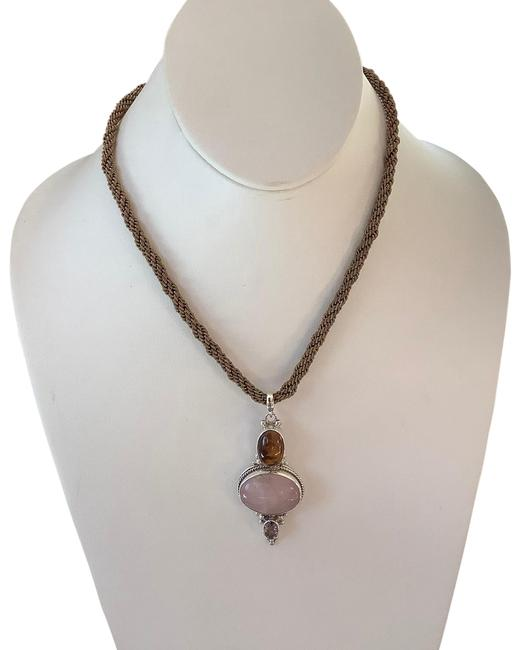 Item - Rose Quartz Pink Tiger Eye Brown and Purple Crystal Sterling Silver Quartz/Tiger Eye/Faceted Pendant/Necklace Necklace