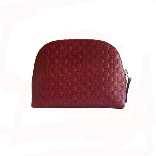 Gucci Leather Microguccissima Cosmetic Case Red Travel Bag Image 1