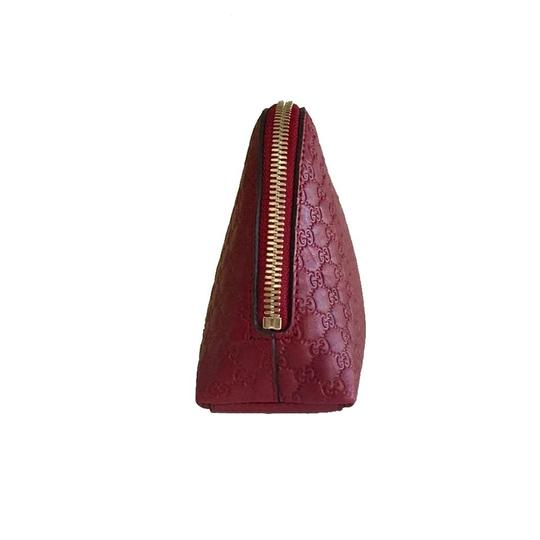 Gucci Leather Microguccissima Cosmetic Case Red Travel Bag Image 3