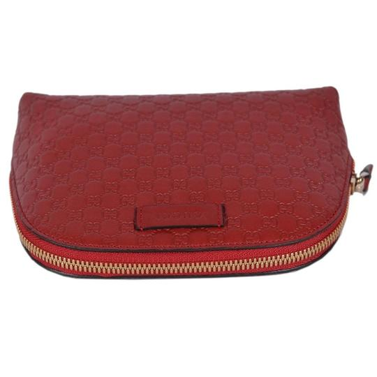 Gucci Leather Microguccissima Cosmetic Case Red Travel Bag Image 4
