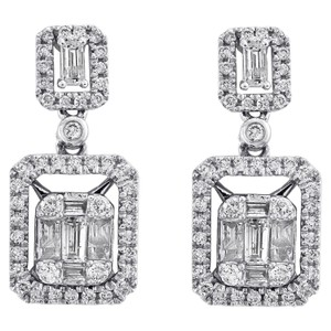 Jewelry For Less 14K White Gold Baguette Diamond Double Rectangle Drop Halo Dangler 1CT