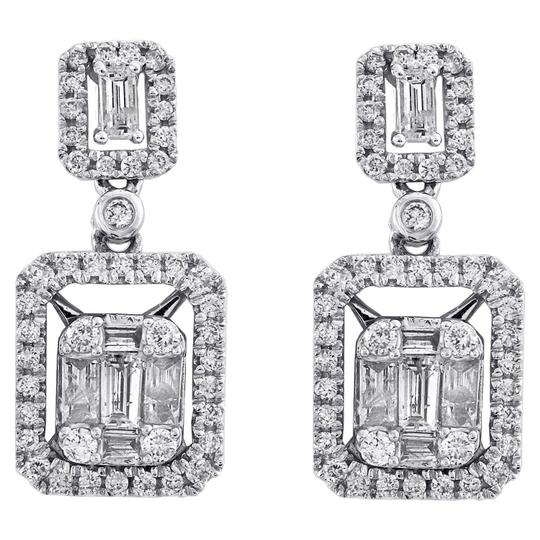 Preload https://img-static.tradesy.com/item/26606524/jewelry-for-less-white-gold-14k-baguette-diamond-double-rectangle-drop-halo-dangler-1ct-earrings-0-0-540-540.jpg