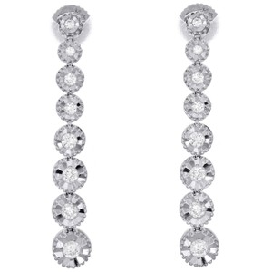 Jewelry For Less 14K White Gold Graduating Diamond Studs Miracle Illusion Earring 1/2CT