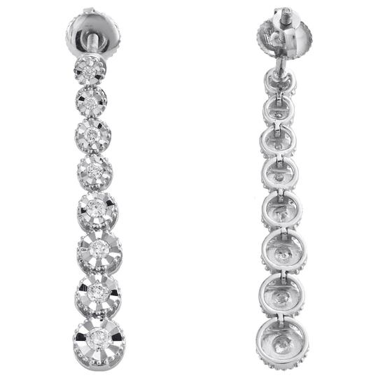 Jewelry For Less 14K White Gold Graduating Diamond Studs Miracle Illusion Earring 1/2CT Image 2