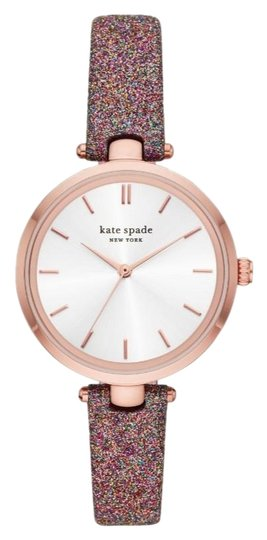 Kate Spade NEW Holland Three-Hand Multicolor Glitter Leather Watch KSW1580 Image 1