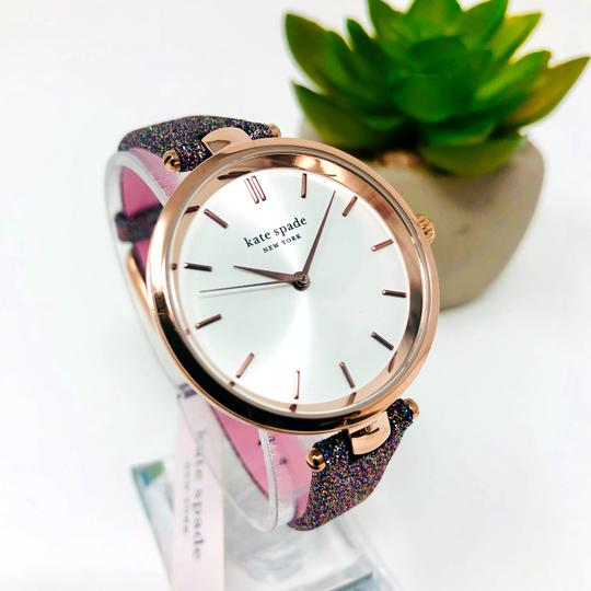 Kate Spade NEW Holland Three-Hand Multicolor Glitter Leather Watch KSW1580 Image 2