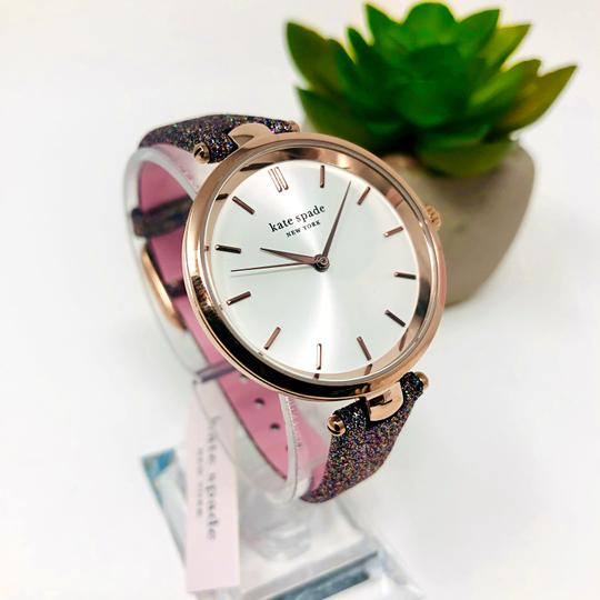Kate Spade NEW Holland Three-Hand Multicolor Glitter Leather Watch KSW1580 Image 3