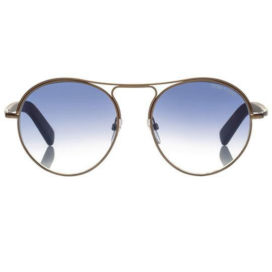 Tom Ford Blue Gradient Lens TF449 37W Unisex Round Style Sunglasses Image 1