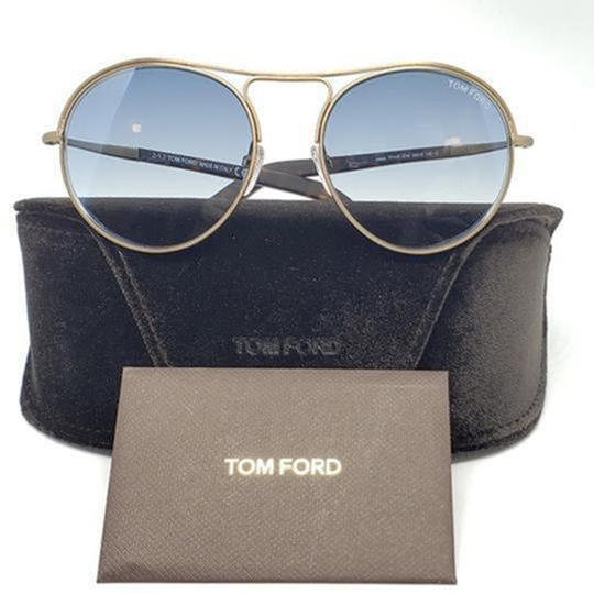 Tom Ford Blue Gradient Lens TF449 37W Unisex Round Style Sunglasses Image 3