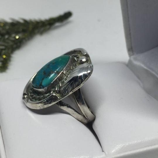 Native American Vintage Native American Turquoise Sterling Silver Ring Image 3