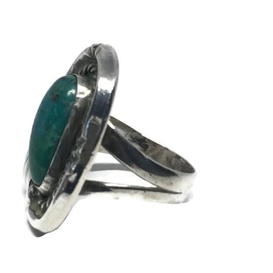 Native American Vintage Native American Turquoise Sterling Silver Ring Image 4