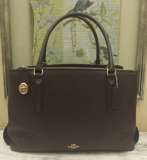 Coach Red Leather Brooklyn Satchel in Purple Image 1