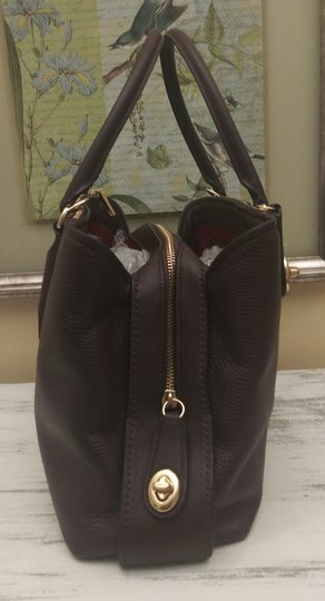 Coach Red Leather Brooklyn Satchel in Purple Image 3