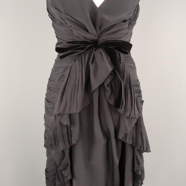 Prada Draped Chiffon Ruched Asymmetrical Dress Image 2