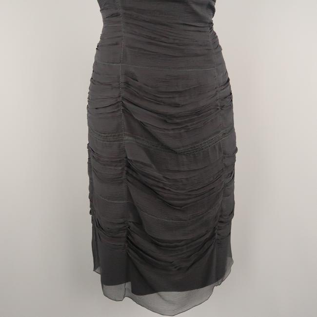 Prada Draped Chiffon Ruched Asymmetrical Dress Image 3