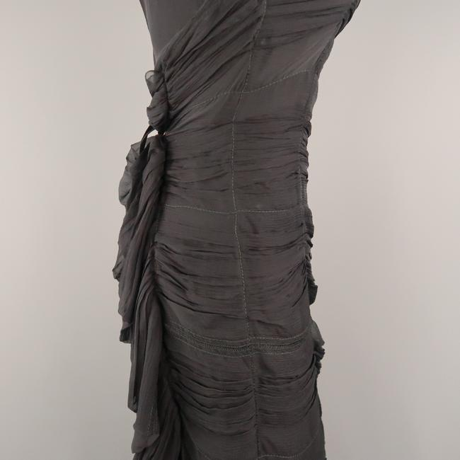 Prada Draped Chiffon Ruched Asymmetrical Dress Image 4