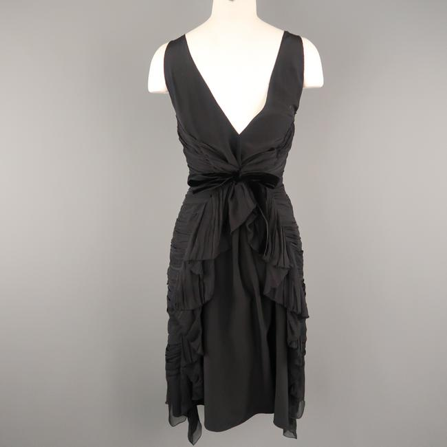 Prada Draped Chiffon Ruched Asymmetrical Dress Image 6