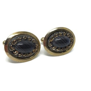 Gold and Black Mid Century Banded Agate Cufflinks/Studs
