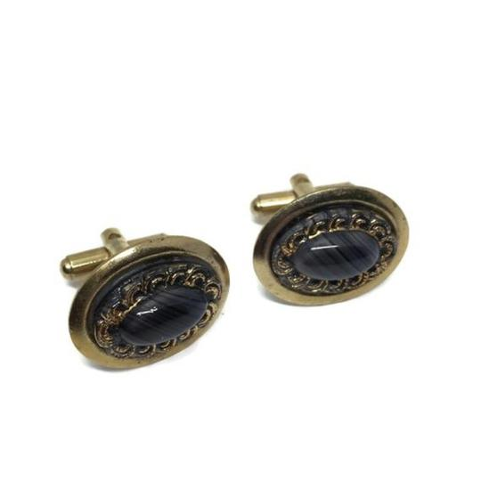 Gold and Black Mid Century Banded Agate Cufflinks/Studs Image 1