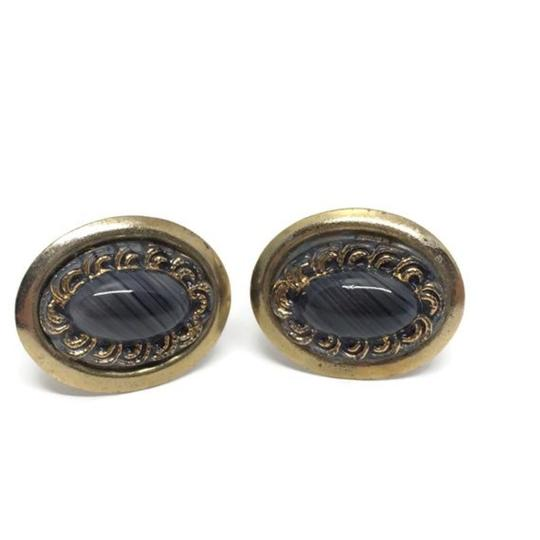 Gold and Black Mid Century Banded Agate Cufflinks/Studs Image 4