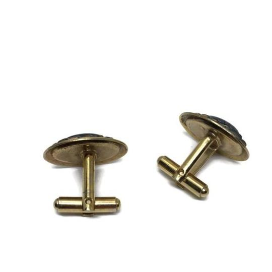 Gold and Black Mid Century Banded Agate Cufflinks/Studs Image 6