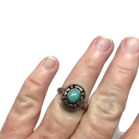 other Vintage Sterling Silver Openwork Turquoise Ring Image 3