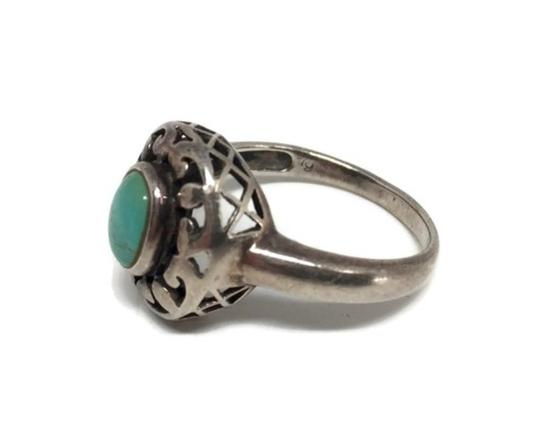 other Vintage Sterling Silver Openwork Turquoise Ring Image 5