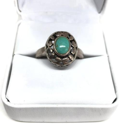 other Vintage Sterling Silver Openwork Turquoise Ring Image 6