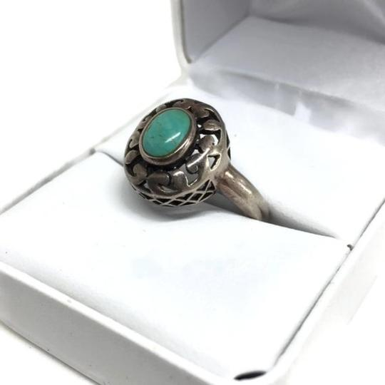 other Vintage Sterling Silver Openwork Turquoise Ring Image 8