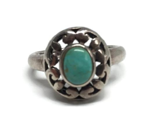 other Vintage Sterling Silver Openwork Turquoise Ring Image 9