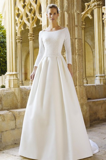 Ivory Satin Maxim Formal Wedding Dress Size 0 (XS) Image 7