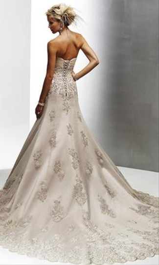 Maggie Sottero Light Gold Lace and Vogue Royale Gown Feminine Wedding Dress Size 4 (S) Image 1