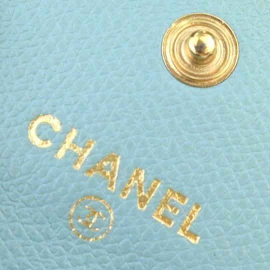 Chanel Authentic CHANEL CC Logo Coin Case Wallet Leather Parse Green Blue Image 11
